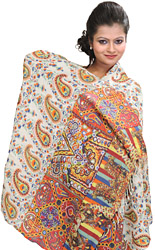 Winter-White Digital-Printed Kani Stole with Woven Paisleys in Multi-Colored Thread