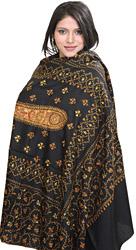 Jet-Black Kashmiri Shawl with Sozni Hand Embroidered Flowers