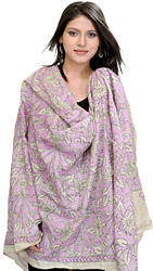 Pastel-Lilac Kantha Dupatta with Embroidered Flowers by Hand