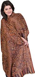 Pecan-Brown Pashmina Jamawar Stole with Woven Flowers and Paisleys