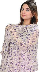 Winter-White Stole from Kathmandu with Printed Flowers