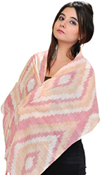 Cloud-Rose Handloom Scarf from Pochampally with Ikat Weave