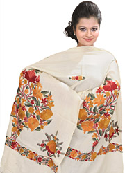 Stole from Kashmir with Crewel Embroidered Flowers by Hand