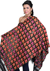 Jet-Black Kashmiri Stole with Hand-Embroidered Maple Leaves