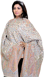Cloud-Cream Kani Stole with Woven Paisleys in Multi-Colored Thread