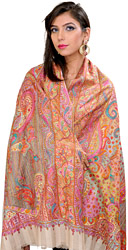 Biscootti-Beige Pure Pashmina Shawl from Kashmir with Hand-Embroidered Flowers All-Over