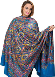 Swedish-Blue Kashmiri Pure Pashmina Shawl with Intricate Sozni Embroidered Flowers by Hand