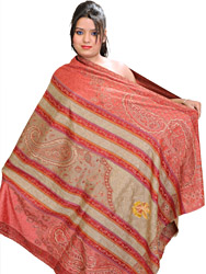 Jamawar Shawl from Amritsar with Ari Embroidered Flowers and Paisleys