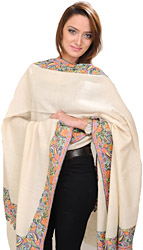 Winter-White Plain Pashmina Shawl with Intricate Hand-Embroidery Flowers on Border