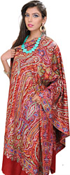 Rio-Red Designer Pashmina Shawl from Kashmir with Sozni Embroidery by Hand
