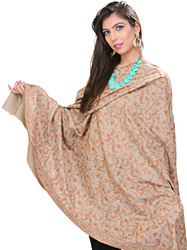 Silver-Cloud Kashmiri Pashmina Shawl with Jafreen Jaal Embroidered Flowers All-Over