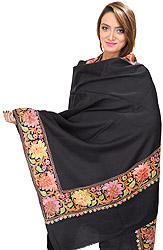 Plain Shawl from Amritsar with Ari Embroidered Flowers on Border