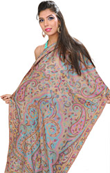 Tuscany-Gray Kani Pashmina Stole with Woven Paisleys in Multi-Colored Thread