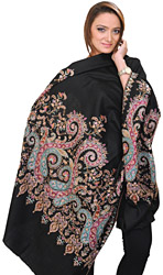 Jet-Black Designer Pashmina Shawl from Kashmir with Hand-Embroidered Paisleys on Border