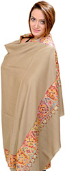 Almond-Sand Plain Shawl from Kashmir with Hand Embroidered Flowers on Border