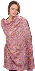 Prism-Pink Pure Pashmina Shawl with All-Over Hand-Embroidered Flowers in Multi-Colored Thread