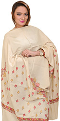 Almond-Buff Pashmina Shawl from Kashmir with Hand Embroidered Maple Leaves