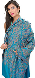 Brilliant-Blue Pure Pashmina Shawl from Kashmir with Intricate Hand-Embroidery By Hand