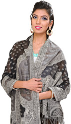Cutwork Jamawar Stole with Woven Paisleys and Bootis