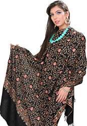 Jet-Black Pure Pashmina Shawl with Hand-Embroidered Floral Jaal