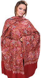 Brick-Red Pure Pashmina Kashmiri Shawl with Sozni Embroidered Flowers