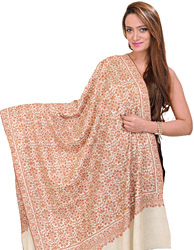 Winter-White Kashmiri Pure Pashmina Shawl with Sozni Embroidered Flowers All-Over