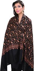 Jet-Black Pure Pashmina Kashmiri Shawl with Sozni Embroidered Flowers
