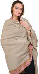 Light-Taupe Kashmiri Pure Pashmina Shawl with Needle Embroidered Paisleys on Border