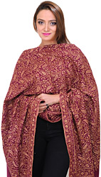Purple Pure Pashmina Shawl from Kashmir with Sozni Embroidered Paisleys All-Over