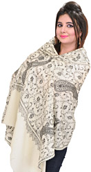 Kashmiri Tusha Stole with Sozni Hand Embroidered Large Paisleys