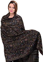 Black Pure Pashmina Shawl with Multi-Colored Kani Weave