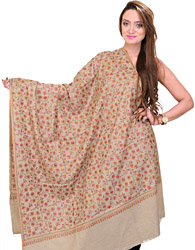 Oxford-Tan Kashmiri Pure Pashmina Shawl with Sozni Embroidered Flowers by Hand