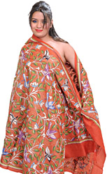 Mecca-Orange Kantha Dupatta with Hand-Embroidered Birds and Foliage