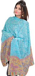 Blue-Curacao Cashmere Kani Stole with Woven Butterflys