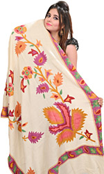 Shawl from Amritsar with Crewel Embroidered Flowers
