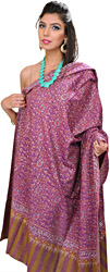 Wood-Violet Pure Pashmina Shawl from Kashmir with Sozni Embroidery All-Over
