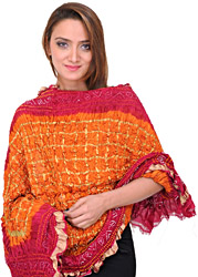 Orange and Pink Tie-Die Bandhani Gharchola Dupatta from Jodhpur with Golden Thread Weave