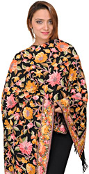 Black Stole from Kashmir with Ari Hand-Embroidered Flowers All-Over