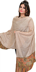 Moonlight Semi-Cashmere Kani Stole with Woven Paisleys and Self Weave