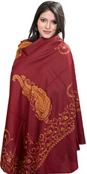 Maroon Tusha Shawl from Kashmir with Sozni Embroidered Paisleys