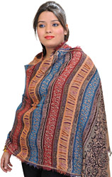 Multi-Color Jamawar Reversible Stole with Woven Leopord Spots