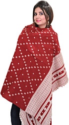 Rosewood Shawl from Kutch with Woven Bootis and Mirrors