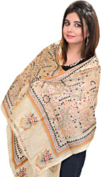 Cloud-Cream Scarf with Kantha Stitch Embroidered Warli Folk Motifs