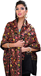 Black Kashmiri Shawl with Ari Embroidery All-Over