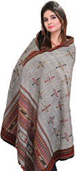 Gray Handloom Shawl from Kutch with Mirrors