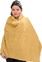 Wheat-Color Plain Eri Dupatta from Assam
