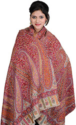 Fog-Color Kani Shawl with Kalamkari Needle Hand-Embroidery