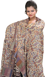 Cloud-Cream Cashmere Kani Shawl with Hand-Woven Paisleys