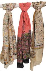 Lot of Three Printed Kantha Scarves from Kolkata