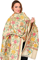 Cloud-Cream Kantha Dupatta with Hand-Embroidered Roses